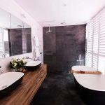 Back Floor to Feature Wall Bathroom - Timber Vanity